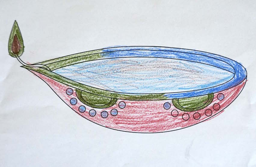 Miss Namie also brought some worksheets for the students, including this coloring page with a diyas.