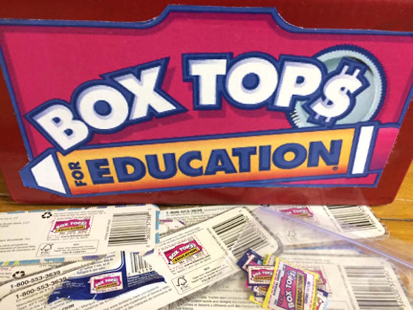 A parent volunteer goes through hundreds of Box Tops for Education each year to help earn money for the school. More than $200 worth of Box Tops were turned in this academic year.