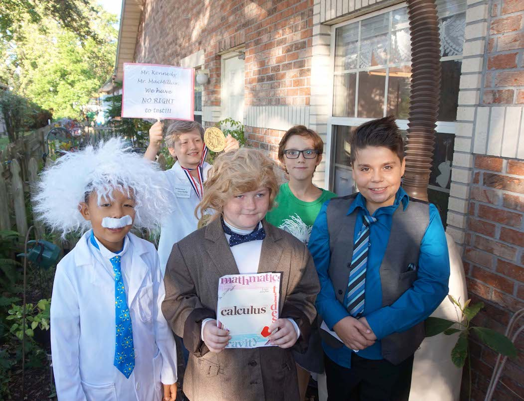 The science was strong with this group for Historic Halloween in Upper Elementary. Albert Einstein, Sir Isaac Newton and George Washington fill out the front row, while Linus Pauling and Copernicus fill out the back row in this group photo.