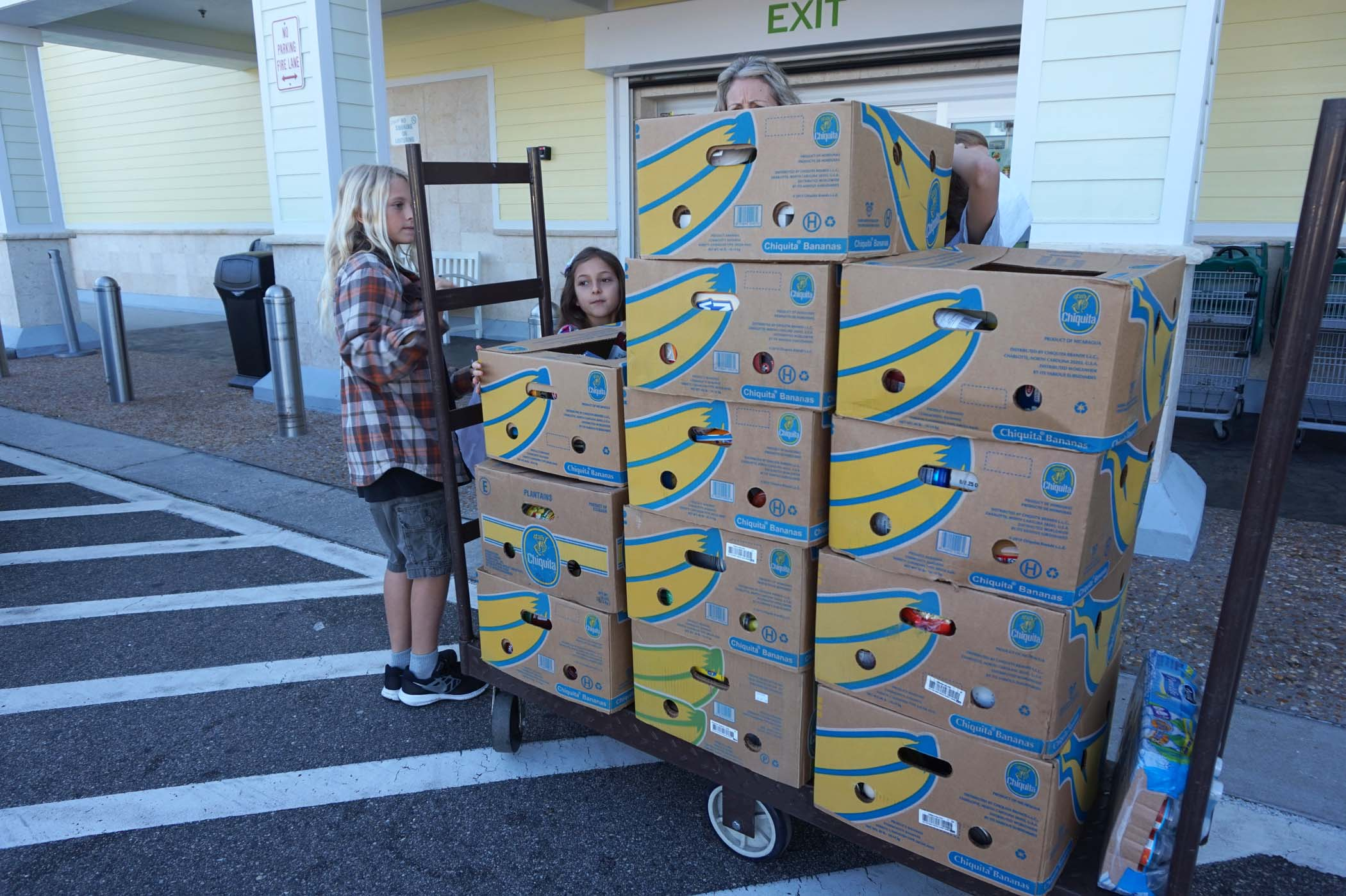 It took several cars to carry the 19 boxes containing the food purchased for the food drive.